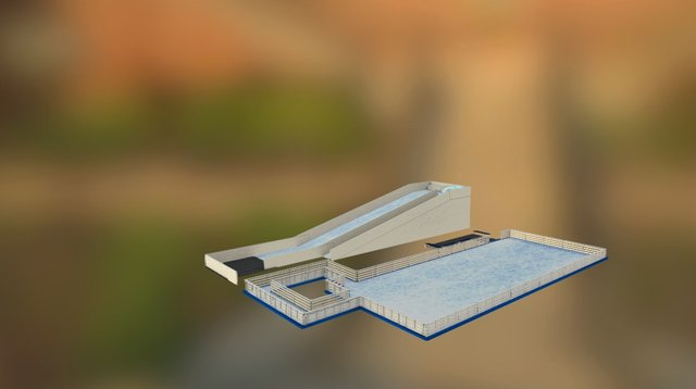 Ice Rink with Ice Path and Ice Slide 3D Model
