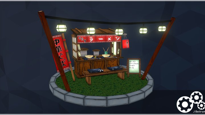 Japanese Ramen Stall 3D Model