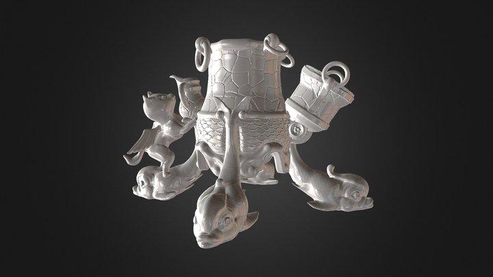 vase base kitty fish legs 3D Model