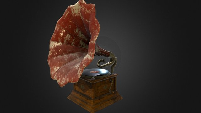 Antique Gramophone 3D Model