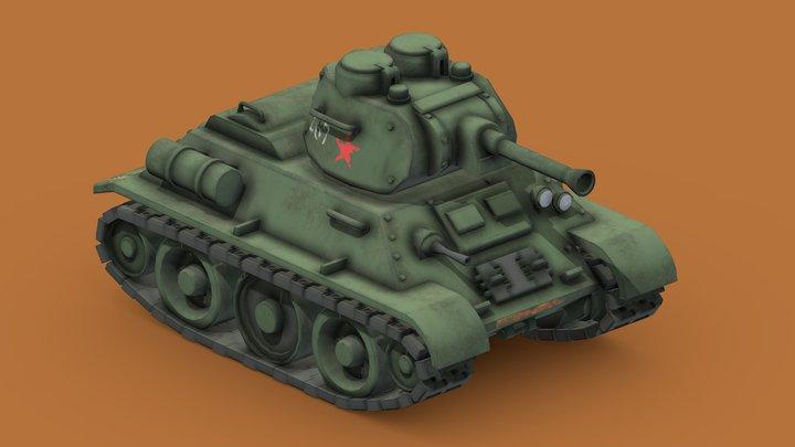 Stylized Cartoon T34-76 Tank 3D Model