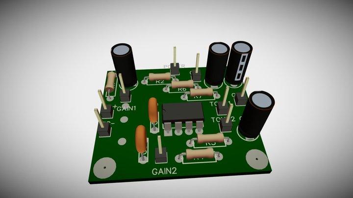 Electret Mic amplifier PCB 3D Model