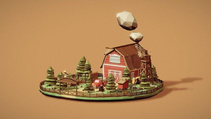 Low Poly Farm - Blueberry Hill 3D Model