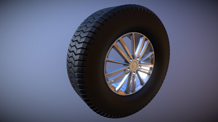 Wheel with tire 3D Model