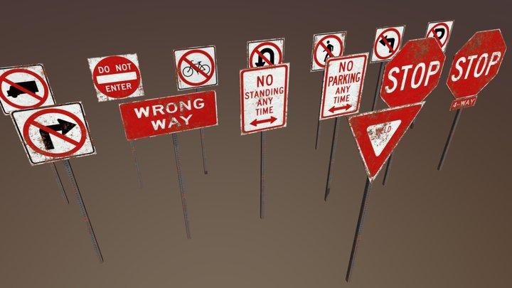 Warning Signs Set 3D Model
