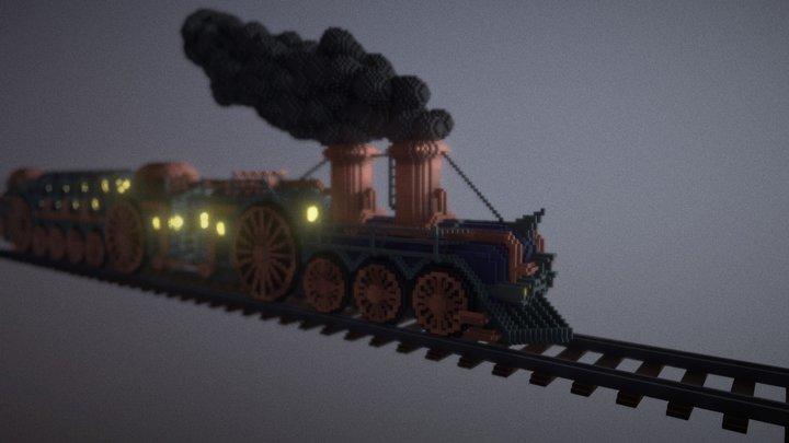 Steampunk train - Voxel model 3D Model