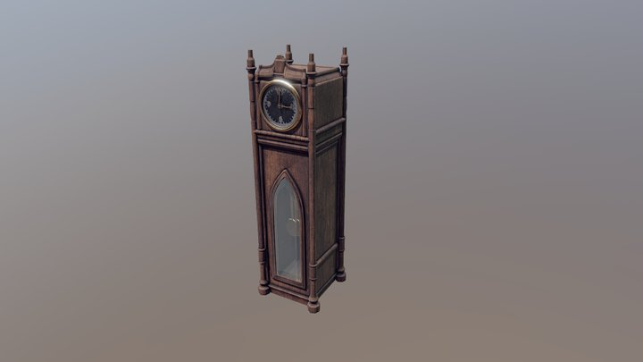 Grandfather Clock (lowpoly game asset) 3D Model