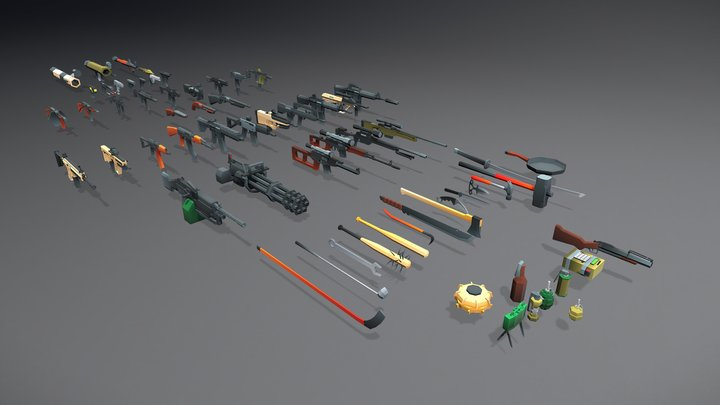 Low Poly Weapons Collection - 64 Pack 3D Model