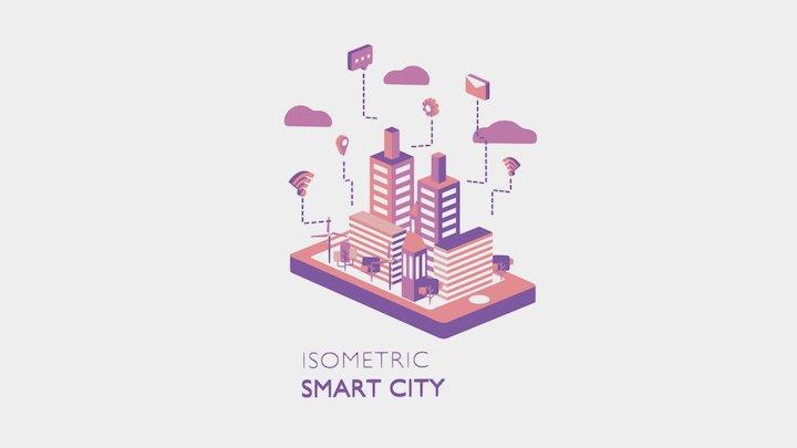 Isometric smart city 3D Model