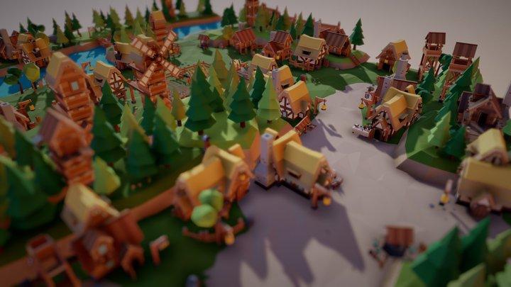 "Fantasy Village ""Riverside Village"" 3D Model"