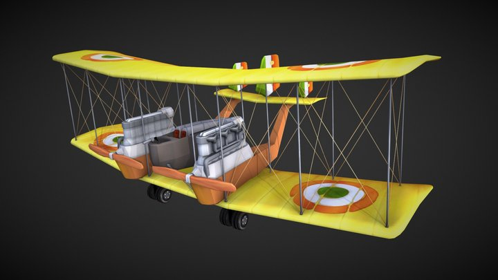 """Low Polly Game Art """"The Flying Circus"""" 3D Model"""