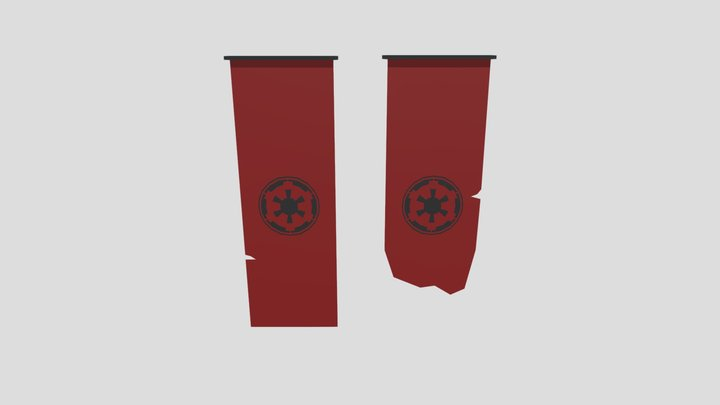 Low-Poly Empire Flags 3D Model
