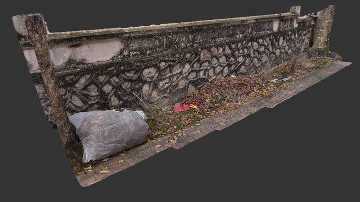 Concrete and Rock Wall - Mutiara Damansara 3D Model