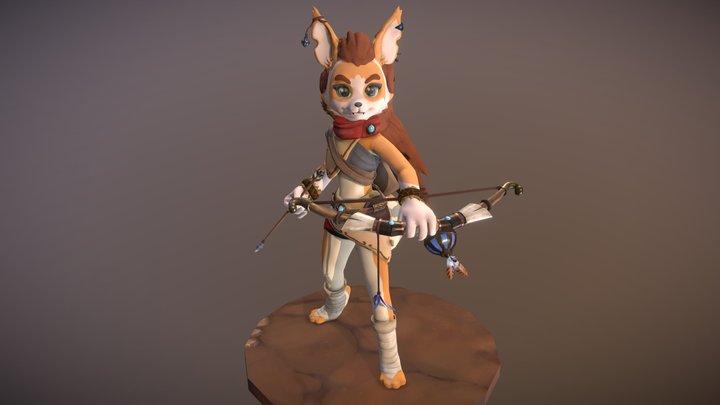Kera the Archer Desert Fox [Animated] 3D Model