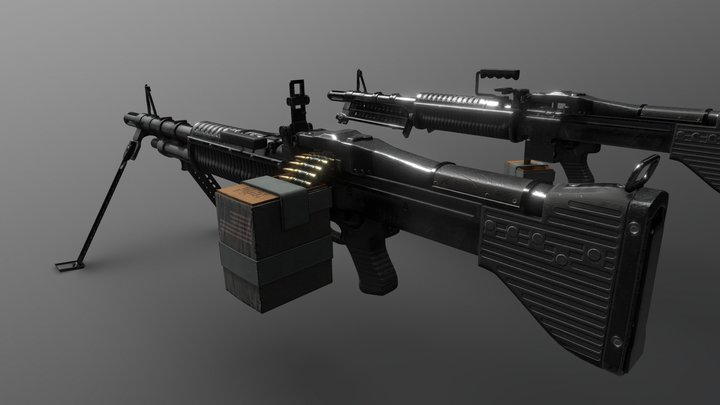 M60 Machine Gun - Vietnam War 3D Model