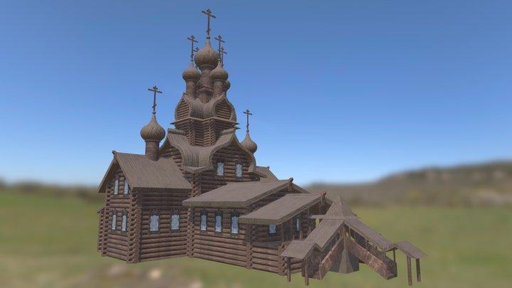 Wooden Russian church 3D Model