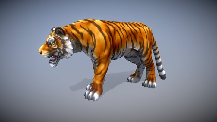 Tiger - Low Poly, Hand Painted 3D Model