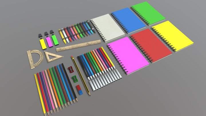 School supplies pack (Low-poly) 3D Model