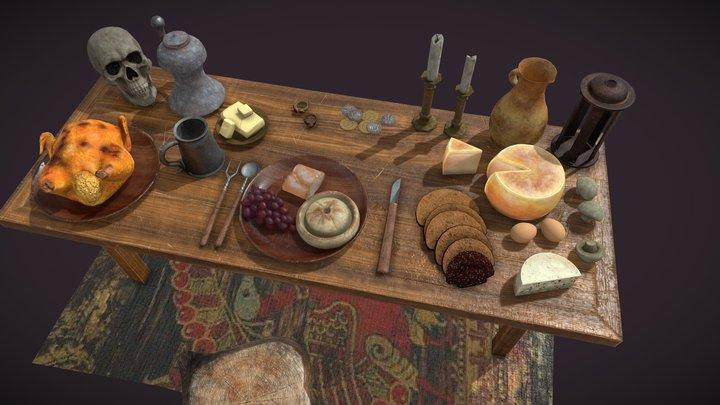 Medieval Tavern Dinner Scene 3D Model