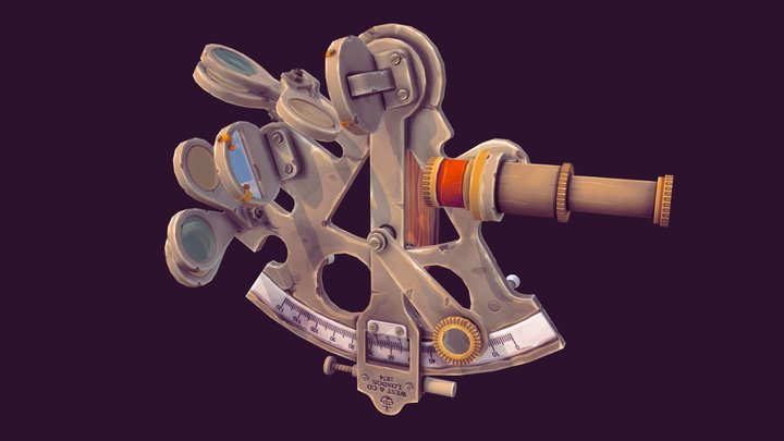 Low Poly Hand-painted Nautical Sextant 3D Model