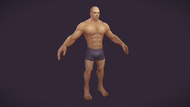 Hand painted Warrior Male Character 3D Model