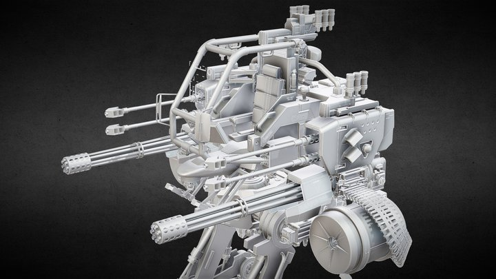 Bi-Pedal Heavy Weapons Platform Concept 3D Model