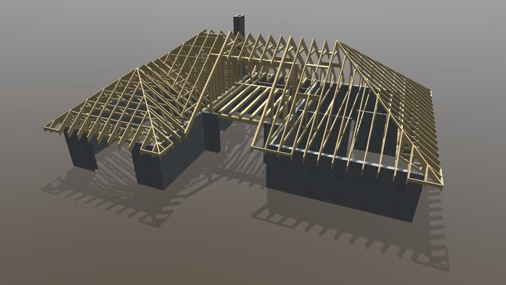 Timber trusses for a private house in Latvia 3D Model
