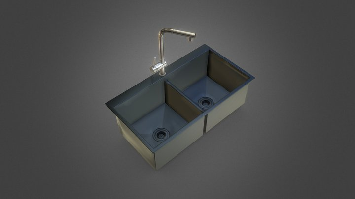 Kitchen Sink And Faucet 3D Model