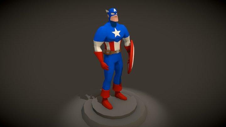 Low Poly Captain America (Pose A) 3D Model