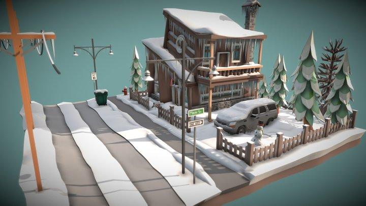 Low Poly Winter Scene 3D Model