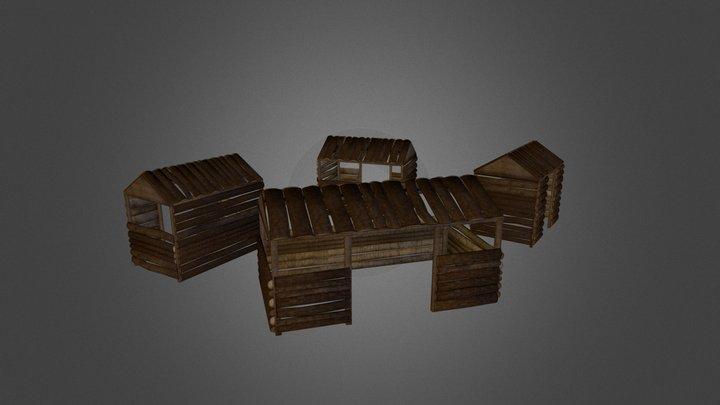 Wooden Shacks 3D Model