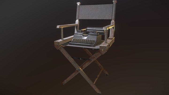 Typewriter & Directors Chair 3D Model