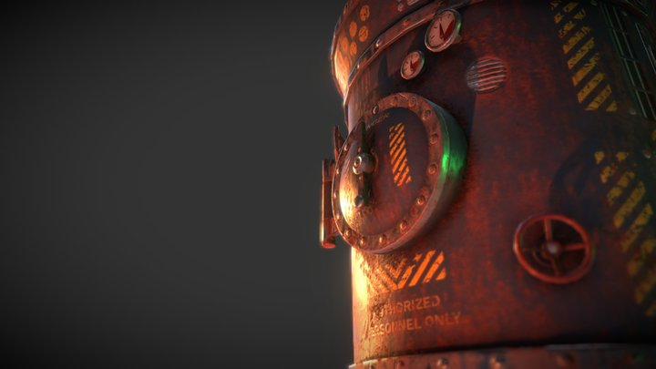Rusted Steam Boiler 3D Model