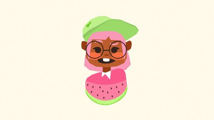 Watermelon Girl 3D Model