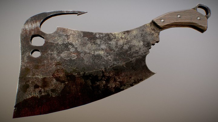 Meat Cleaver (with meat hook) 3D Model