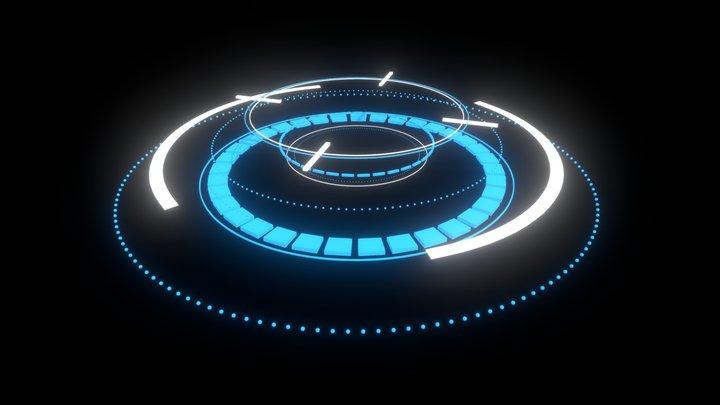 Sci-Fi HUD Animated Element 1 3D Model