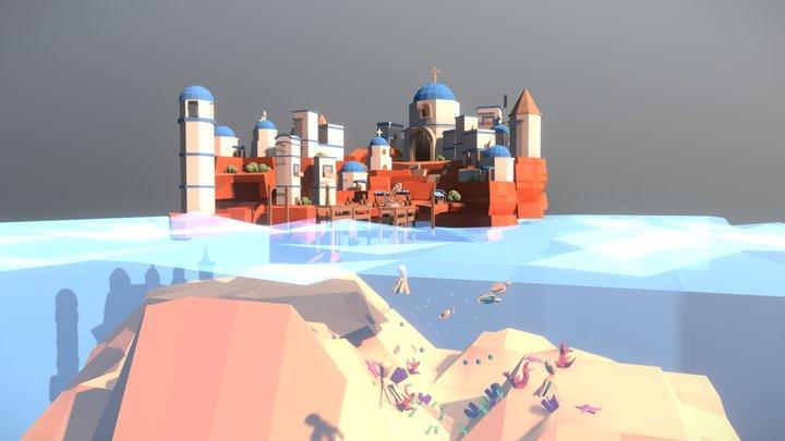 Greek Island - #MedievalFantasyScene 3D Model