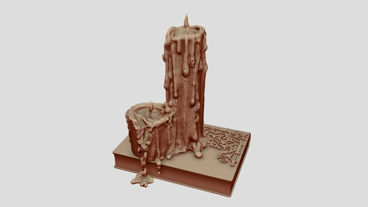 Melted Candles and Book Sculpt 3D Model