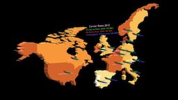 Cancer Rates in U.S., Canada and Western Europe 3D Model
