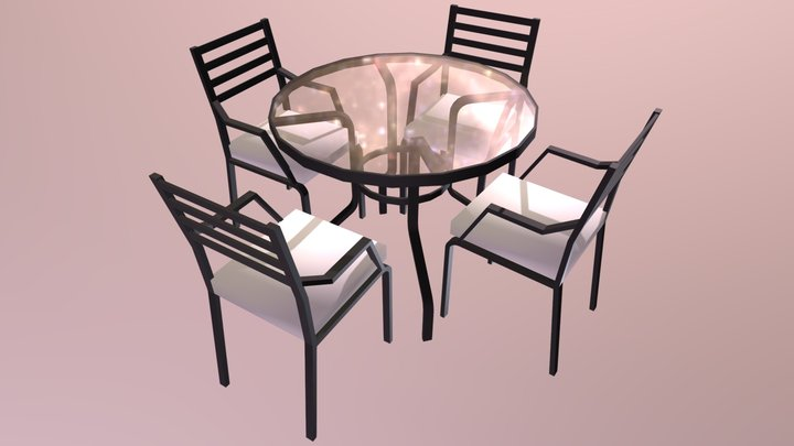 Metallic garden table 3D Model