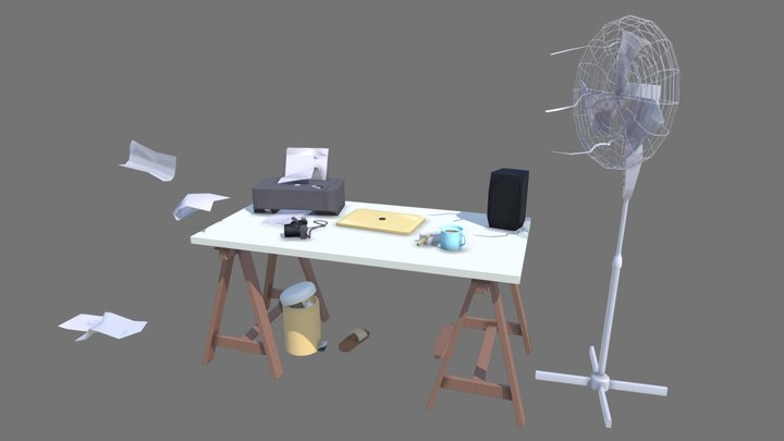 My work place 3D Model