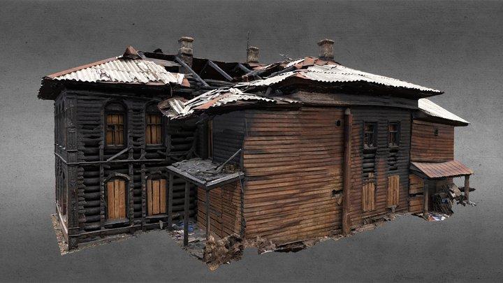 Burned wooden building for reconstruction 3D Model