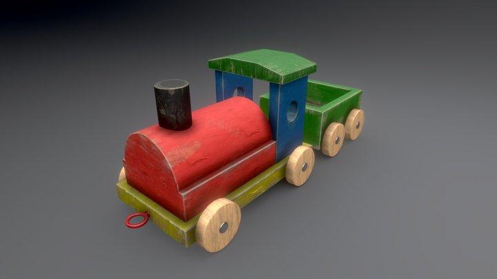 Wooden Train Toy 3D Model