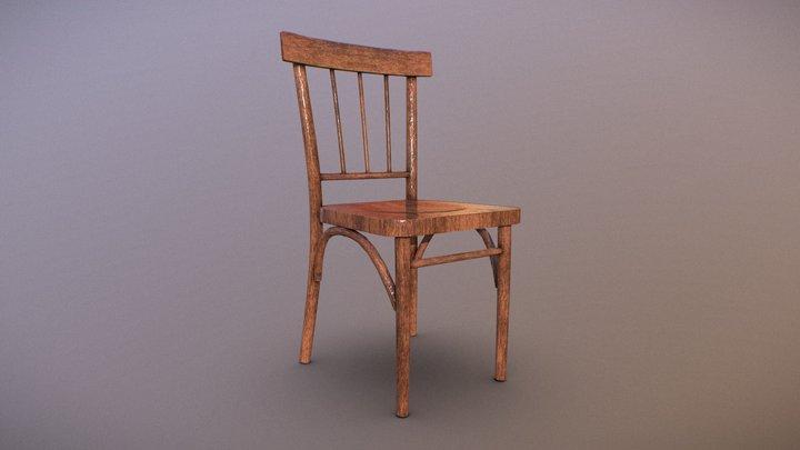 Simple Soviet Wooden Chair 3D Model