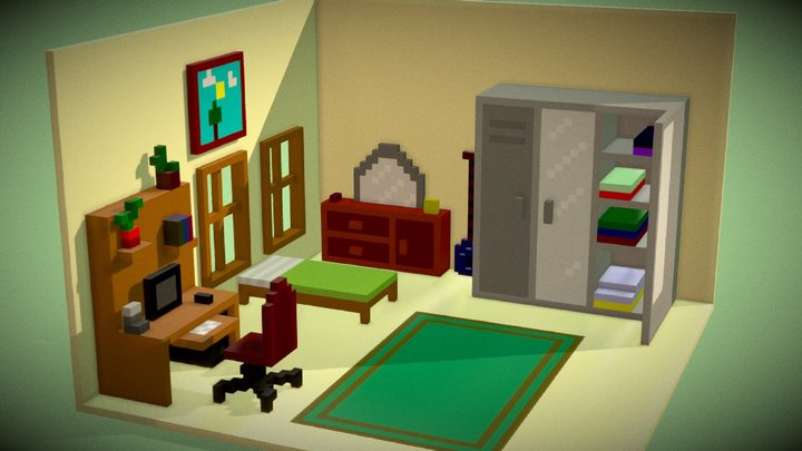 Voxel Bed Room Isometric 3D Model