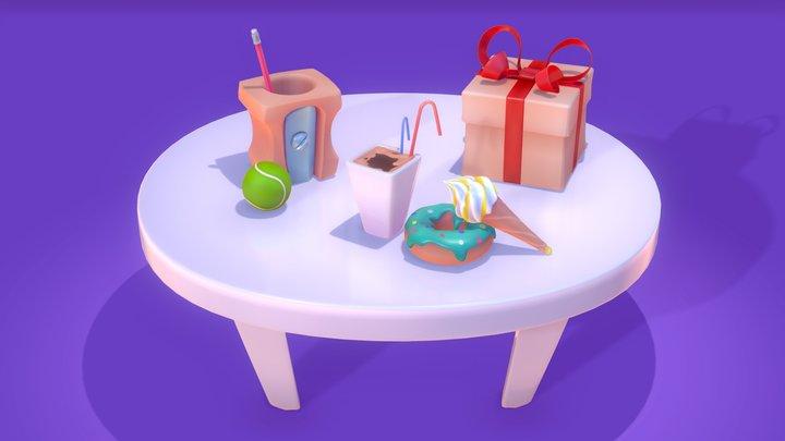 Small Cartoony Installation (Vertex Color) 3D Model