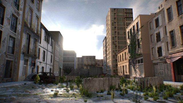 Postwar City - Exterior Scene 3D Model
