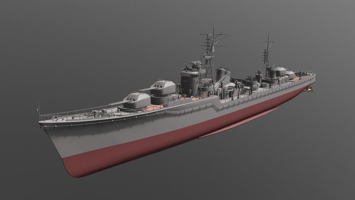 IJN Akizuki 3D Model