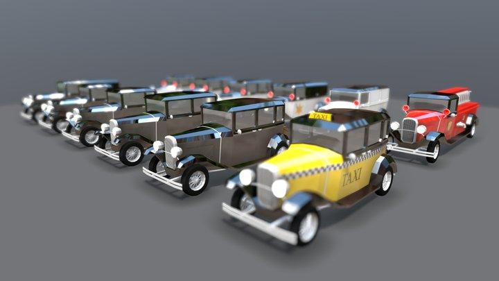 Lowpoly Vintage Car Pack 1930s 3D Model
