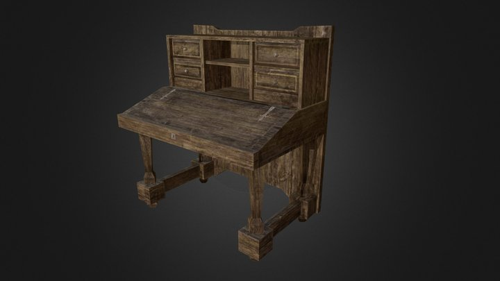 Medieval style Desk - Low poly game ready model 3D Model